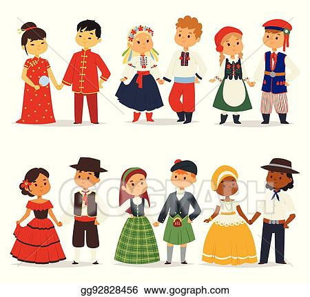 c066aae92 Traditional kids couples character of world dress girls and boys in  different national costumes and cute little children nationality dress  vector ...