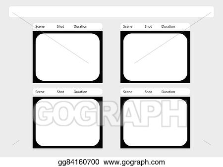 Clip Art Vector Traditional Television 4 Frame Storyboard Template
