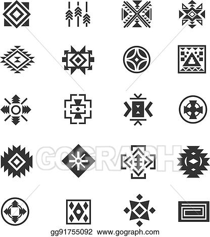 Vector Stock Traditional Tribal Mexican Symbols Navajo Ethnic