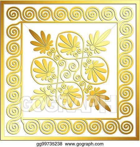 2d73d6e5ea88 Clip Art Vector - Traditional vintage gold greek ornament