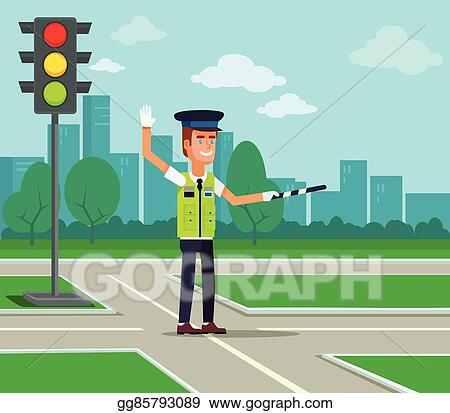 Vector Art - Traffic policeman. Clipart Drawing gg85793089 - GoGraph