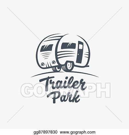 fb3a61c94d Trailer or Van Park Vector Logo Template. Silhouette Tourism Icon. Label  with Retro Typography.