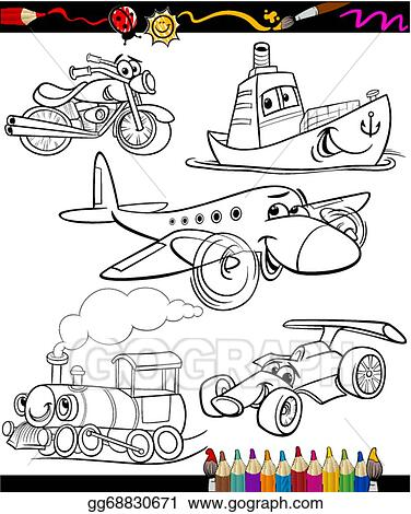 Vector Art Transport Set For Coloring Book Clipart Drawing