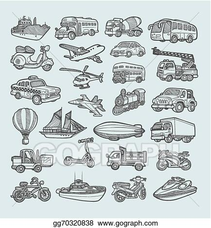 Vector Stock Transportation Icons Sketch Clipart Illustration