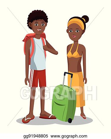 vector stock travel afro couple tourist vacation luggage clipart