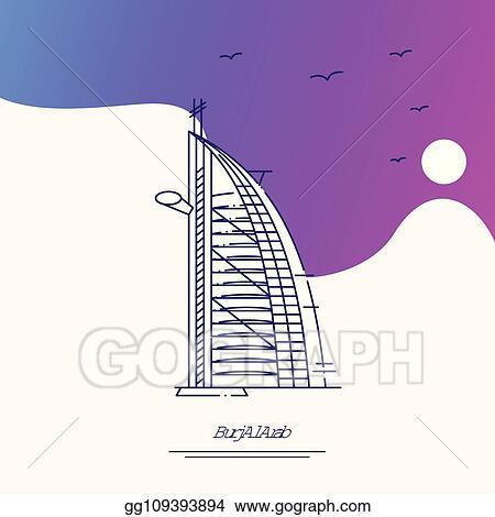 Travel Burj Al Arab Poster Template Purple Creative Background