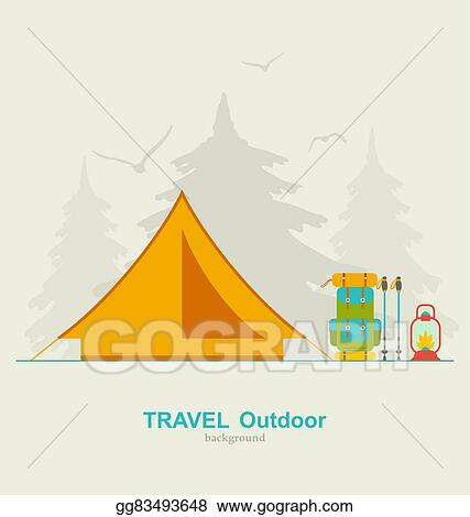 Travel Camping Background With Tourist Tent Backpack Lantern And Trekking Pole