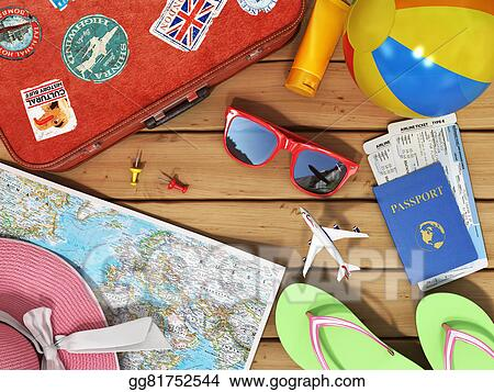Stock illustration travel concept snglasses world map beach snglasses world map beach shoes sunscreen passport planeickets beach ball hat and old red suitcase for travel on the wood background gumiabroncs Choice Image