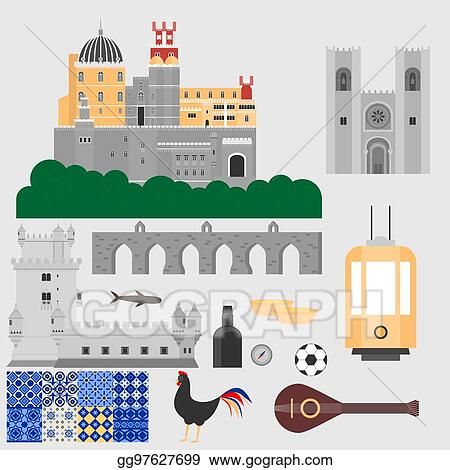 Vector Art - Travel landmark portugal elements  flat architecture