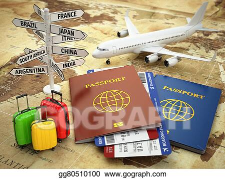 Stock illustration travel or tourism concept passport airplane travel or tourism concept passport airplane airtickets baggage and destination sign on the world map gumiabroncs Choice Image