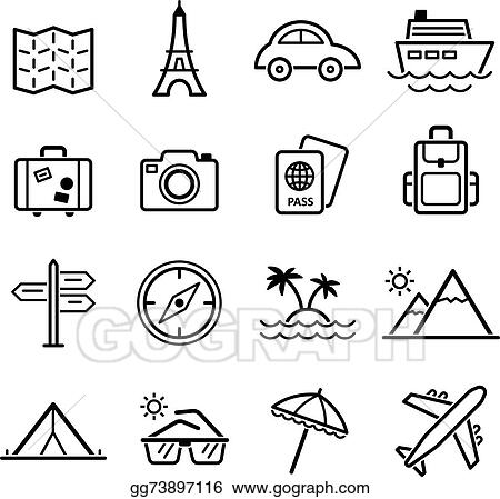 Vector Art Travel Symbols And Tourism Signs Vector Clipart