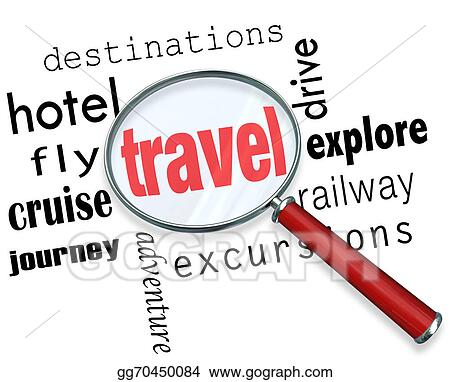 Travel Word Under A Magnifying Glass To Illustrate Searching For And Planning Parts Of Vacation With Words Destination Excursion Journey Explore