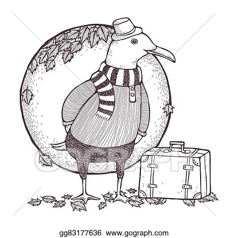 Vector Stock - Traveled seagull coloring page. Stock Clip Art ...