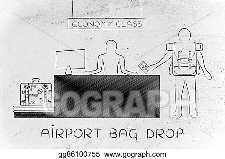 Stock Illustration - Traveler at economy class check-in ...