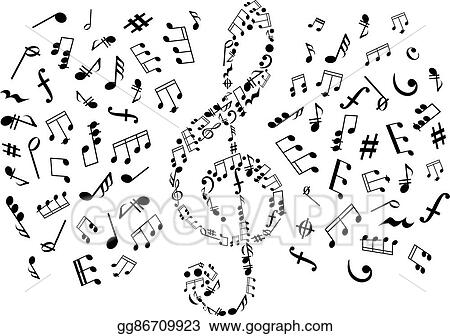 Vector Art - Treble clef with notes among musical symbols  Clipart