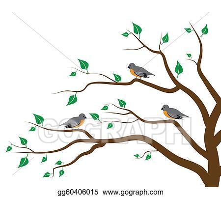Vector Art Tree Birds Clipart Drawing Gg60406015 Gograph
