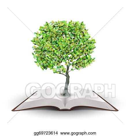 Drawing - Tree on open book  Clipart Drawing gg69723614