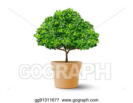 Vector Art Tree Plant In The Pot Eps Clipart Gg91311677 Gograph