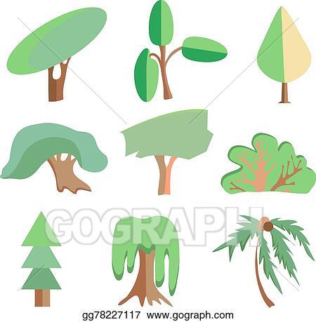 Vector Art Trees Palm Oak Spruce Bush Willow Symbolic Icons