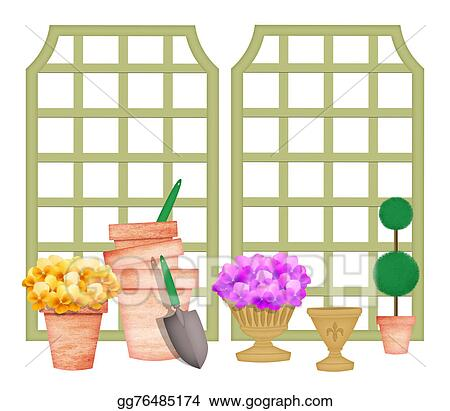 Drawing   Cute Gardening Elements Including Trellises And Flowers In Pots.  Clipart Drawing Gg76485174