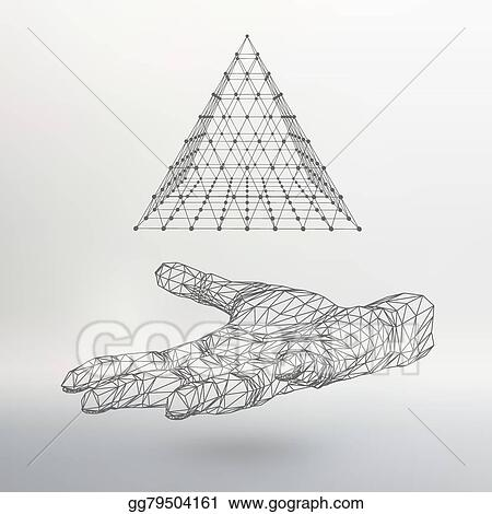Triangle Pyramid On The Arm Hand Holding A Polygon Polygonal Shadow Of Objects In Background
