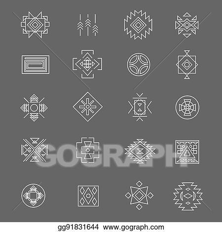 Vector Illustration Tribal American Indian Linear Symbols Line