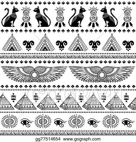 Vector Stock Tribal Ethnic Seamless Pattern With Egypt Symbols
