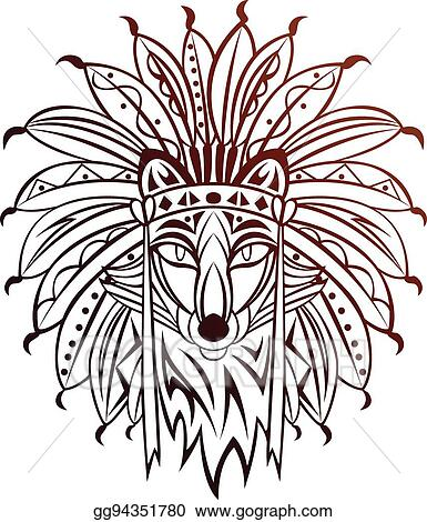 Fox tribal. Vector stock clipart illustration