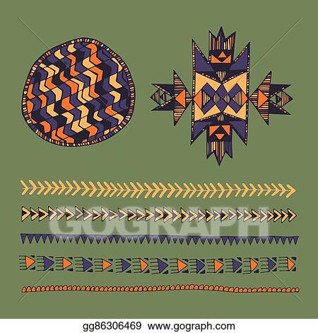 95b4e43cc Tribal native American hand drawn set of symbols and design elements.