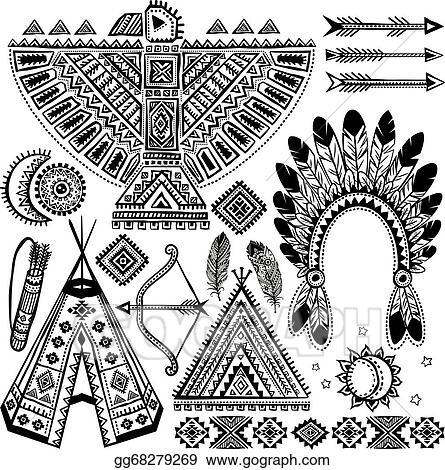 Clip Art Vector Tribal Native American Set Of Symbols Stock Eps