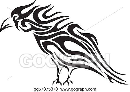 vector art tribal raven tattoo vector eps clipart gg57375370 rh gograph com tattoo victor ny tattoo vector files