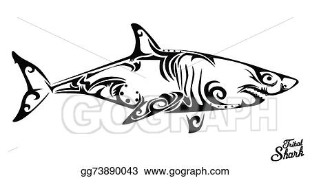 Shark tribal. Vector stock clipart illustration
