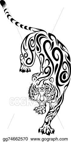 Clip Art Vector - Tribal tiger tattoo. Stock EPS ...