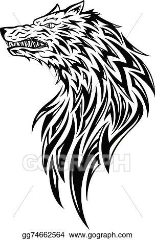Vector Art Tribal Wolf Head Eps Clipart Gg74662564 Gograph
