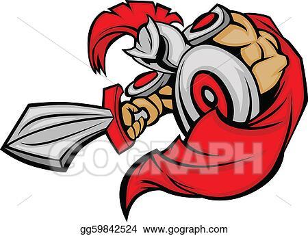 vector clipart trojan mascot body with sword and s vector rh gograph com