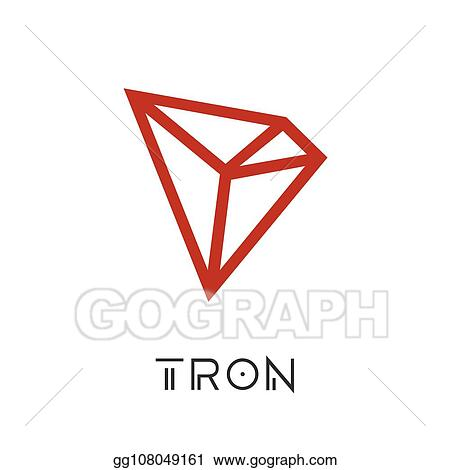 Vector Art - Tron cryptocurrency coin sign isolated  Clipart