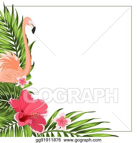eps vector tropical exotic border frame template green pink stock
