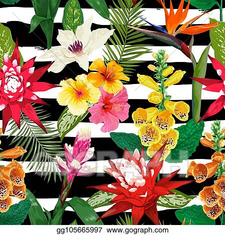 Tropical Floral Pattern Wallpaper