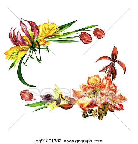 Stock Illustration - Tropical hawaii leaves and flowers frame in a ...