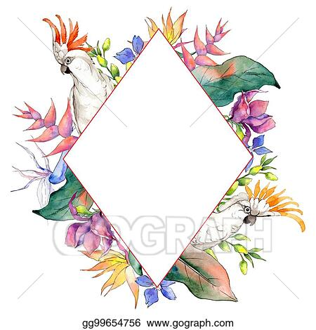 Stock Illustration - Tropical hawaii leaves frame in a watercolor ...