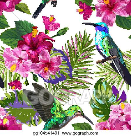 Vector Illustration Tropical Seamless Pattern With Hummingbirds