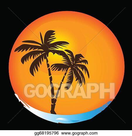 Vector Illustration Tropical Sun Beach Logo Eps Clipart Gg68195796 Gograph