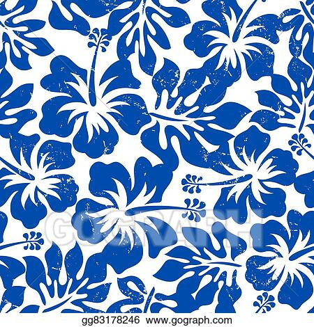Vector Art Tropical Weathered Blue Hibiscus Seamless Pattern Eps