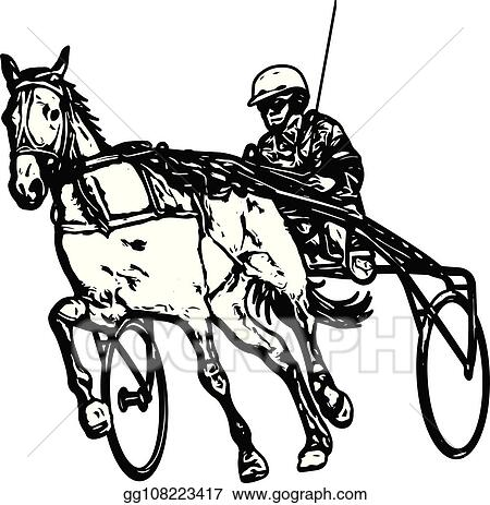 EPS Illustration - Trotter in harness drawing. Vector ... on