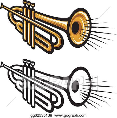 vector stock trumpet clipart illustration gg62535138 gograph rh gograph com trumpet clipart png trumpet clipart free