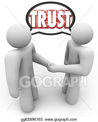 drawings trust word two people handshake speech bubble stock