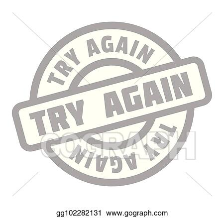 vector illustration try again rubber stamp eps clipart
