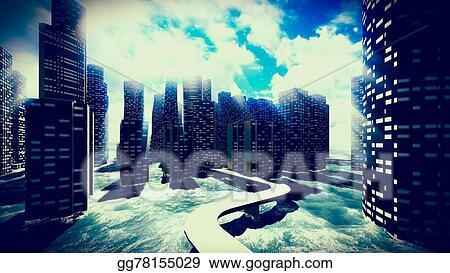 stock illustration tsunami devastating the city clipart drawing
