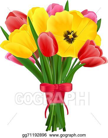 vector art tulip flower bouquet eps clipart gg71192896 gograph rh gograph com flower bouquet clip art with heart flower bouquet clip art free