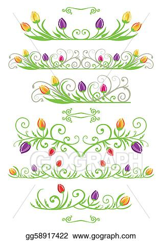 Vector Illustration - Tulip spring borders. Stock Clip Art ...Tulips Page Borders Clipart Free